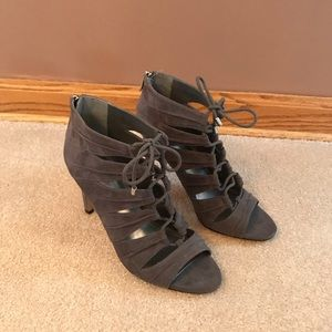 BCBGeneration grey lace up suede heels